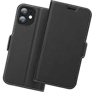 Holidi iPhone 12 Pro Wallet Case, iPhone 12 Pro Flip Case, iPhone 12 Pro 5G Case with Card Holder. iPhone 12 Pro Leather Case, iPhone 12 Pro Phone Case, Slim Folio Cover, Full Protection. Black