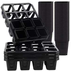 Pack of 4 Starter Trays with 50 Nursery Pots- 12 Cell Garden Water Storage Seedling Starter Growing Trays with Container for Germination, Plant Propagation