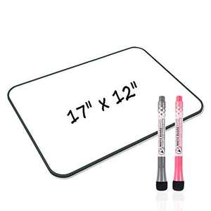 Junya White Board, Small White Board 17 x 12 inch Light Weight Dry Erase White Board Double Sided Small Whiteboard, Stain Resistant Portable Education Tools for Office School Home (Black)
