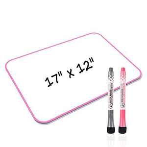 Junya White Board, Small White Board 17 x 12 inch Light Weight Dry Erase White Board Double Sided Small Whiteboard, Stain Resistant Portable Education Tools for Office School Home (Pink)