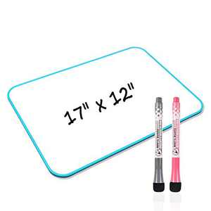 Junya White Board, Small White Board 17 x 12 inch Light Weight Dry Erase White Board Double Sided Small Whiteboard, Stain Resistant Portable Education Tools for Office School Home (Blue)