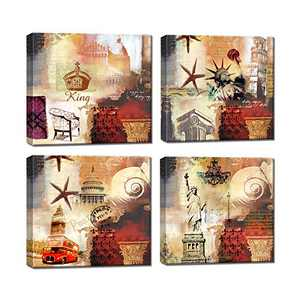 Abstract Vintage Wall Art Canvas Paintings Prints Decor Big Ben red bus 4 Pcs Pictures Framed Artwork Ready to Hang For Home Family Decorations Living Room Kitchen Bedroom Dining Room Office Bar Cafe