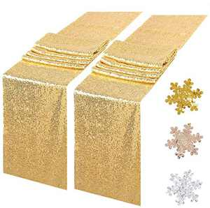 """Sequin Table Runners 2 Pack, 12""""x72"""" Glitter Sequin Table Cloths for Parties, Table Linens Runner Event Party Supplies Fabric Decorations for Holiday Wedding Birthday (Gold)"""
