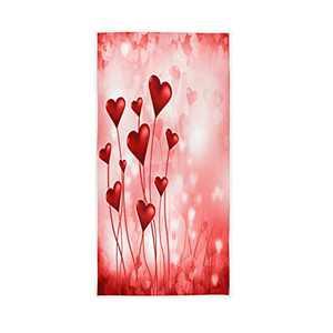 "senya Valentines Red Love Heart Hand Towel Soft Towels for Bathroom, Hotel, Gym, Spa 30""x15"""