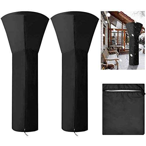 MISSJOY Patio Heater Covers Waterproof with Zipper,Oxford Fabric Standup Outdoor Round Heater Covers 2 Pack 210D H89xD33x19 in,Black