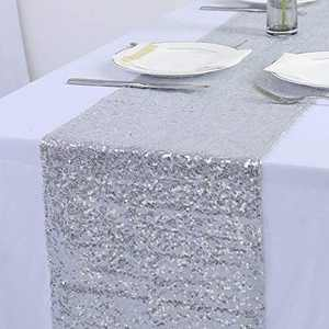 """Sequin Table Runners 2 Pack, 12""""x72"""" Glitter Sequin Table Cloths for Parties, Table Linens Runner Event Party Supplies Fabric Decorations for Holiday Wedding Birthday (Silver)"""