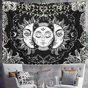 ZZYD Sun and Moon Tapestry,Burning Sun with Star Psychedelic Popular Tapastry Black and White Mystic Tapestry Wall Hangings for Home Bedroom Aesthetic Bedspread, Bed Cover, Table Cloth, Curtain(59*51inch)