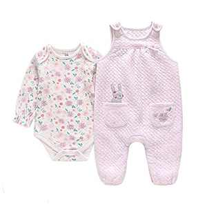 Norhu Toddler Baby Girls Outfit Shirts Tops with Overall Pants Clothing Set (Pink-Purple, 9-15Months)
