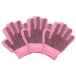 MIG4U Kids Gardening Gloves with Non-slip Silicone Dots, 3-8 years Children Work Gloves for School DIY, Painting, Outdoor Activities, Yard Work,3 pairs pink age 3-5