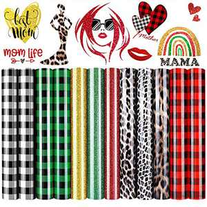 """Heflashor 12 Sheets Mother's Day Buffalo Plaid Heat Transfer Vinyl HTV Rolls,12""""x10""""Iron-on Vinyl Bundle Leopard for T-Shirts Fabric DIY Supplies Craft Mom Gifts (Multiple Color)"""