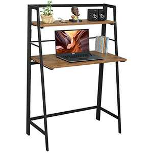 Folding Desk Small Computer Writing Desk with Storage Shelf No Assembly Foldable Kids Laptop Desk Portable Student Study Table Modern Wood Work Desk for Home Office, Industrial Walnut Brown