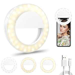 Selfie Ring Light, Phone Ring Light with 60 LED & 4 Lighting Modes, 600maH Rechargeable Clip on Circle LED Ring Light, Mini Circle Ring Light for Phone Laptop Photography Video Makeup
