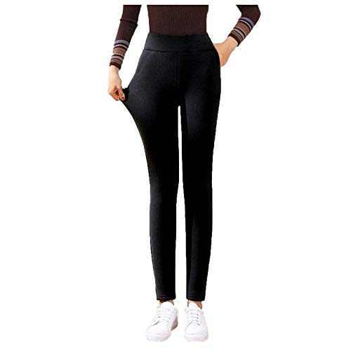 Super Thick Cashmere Leggings, Women Fleece Lined Winter Leggings, High Waist Warm Legging Black