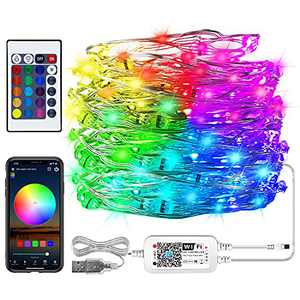 Comoyda WiFi Led String Lights with Remote, RGB Color Changing Fairy Lights 33 Ft 100 Led, Waterproof Outdoor Decoration Light for Bedroom Christmas Party, Compatible with Alexa, Google Home