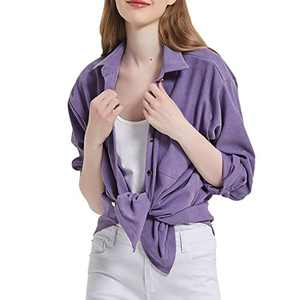 Women's Long Sleeve Button Up Shirt Classic Blouse Casual Solid Loose Boyfriend Style Ladies Tops Purple Large
