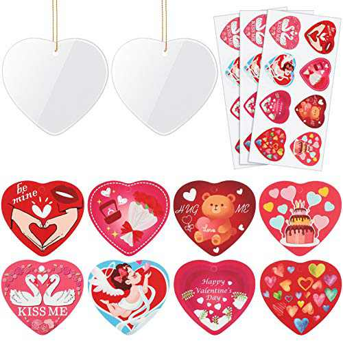 8 Pieces Heart Ceramic Hanging Ornaments Heart Blank Ceramic Ornaments Valentine Sublimation Blanks Pendants with 24 Pieces Heart Shaped Stickers for Valentine's Party Home Decoration