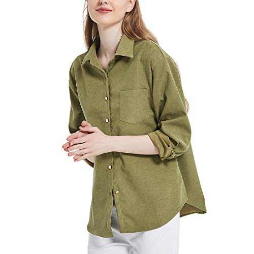 Women's Long Sleeve Button Up Shirt Classic Blouse Casual Solid Loose Boyfriend Style Ladies Tops 14 Green 3X-Large