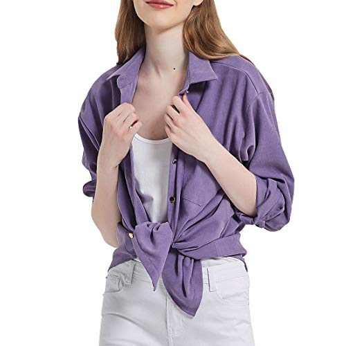 Women's Long Sleeve Button Up Shirt Classic Blouse Casual Solid Loose Boyfriend Style Ladies Tops Purple XX-Large