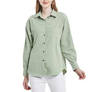 Women's Long Sleeve Button Up Shirt Classic Blouse Casual Solid Loose Boyfriend Style Ladies Tops Green 12 Large