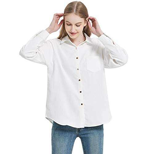 Women's Long Sleeve Button Up Shirt Classic Blouse Casual Solid Loose Boyfriend Style Ladies Tops White M