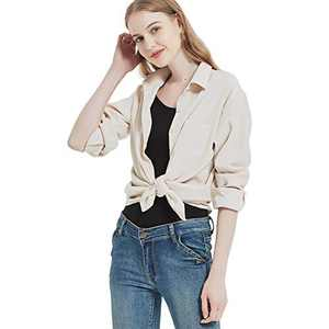 Women's Long Sleeve Button Up Shirt Classic Blouse Casual Solid Loose Boyfriend Style Ladies Tops Beige Large