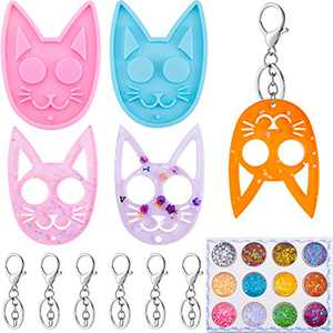 20 Pieces Cat Keychain Mold Set DIY Cat Pendant Resin Casting Silicone Mould Key Chain Epoxy Resin Mold with Blank Keychain and 12 Colors Sequin for DIY Craft Making (Pink, Blue)