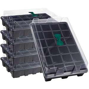 5 Packs Starter Trays Kits- 24 Cell Garden Starter Growing Trays with Base Watering Trays, Breathable Lids & Nursery Pots with Drain Holes for Germination, Plant Propagation