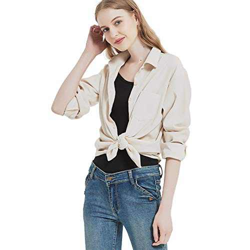Women's Long Sleeve Button Up Shirt Classic Blouse Casual Solid Loose Boyfriend Style Ladies Tops Beige 3X-Large