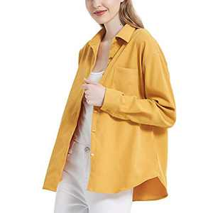 Women's Long Sleeve Button Up Shirt Classic Blouse Casual Solid Loose Boyfriend Style Ladies Tops Yellow Small
