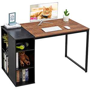 Computer Desk with Storage Shelves Office Desk with Drawers Small Kids Writing Desk Student Study Table Modern Wood Pc Laptop Gaming Desk for Home Work (47 in, Splicing Walnut Black)