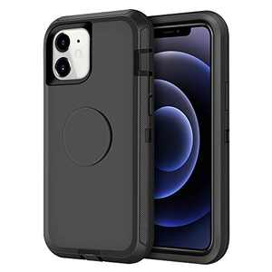 Aemotoy Compatible with iPhone 12/12 Pro Case Hybrid Protective Heavy Duty Hard Shell with Kickstand Holder Full Body Shockproof Cover Case Compatible with iPhone 12/12 Pro 6.1 inch, Black