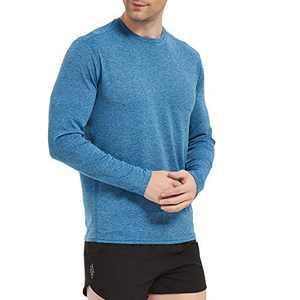 LEDING Men's T-Shirt Casual Cotton Spandex Striped Crewneck Long-Sleeve T-Shirts Basic Pullover Stripe Man tee Shirt (Sports/Blue/A, Medium)