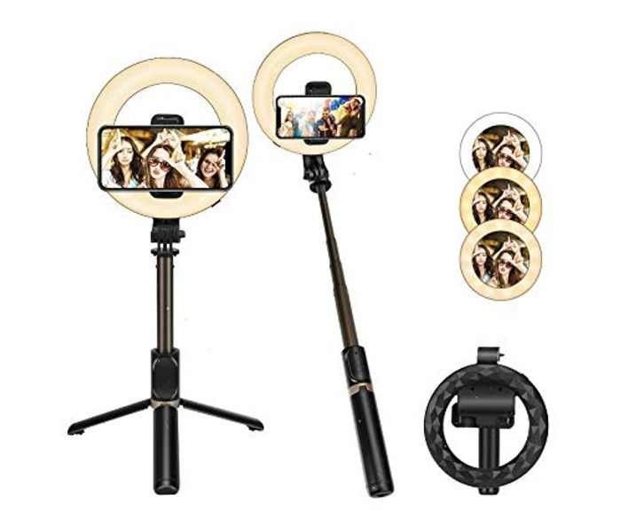 E-More LED Selfie Ring Light with Tripod Stand & Phone Holder, Dimmable Circle Light Selfie Stick Tripod Bluetooth Remote for Selfie/Live Streaming/Makeup/YouTube Video, Compatible with iOS/Android