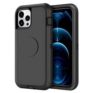 Aemotoy Compatible with iPhone 12 Pro Max Case Hybrid Protective Heavy Duty Hard Shell with Kickstand Holder Full Body Shockproof Cover Case Compatible with iPhone 12 Pro Max 6.7 inch, Black