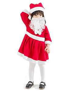 JiaDuo Girls Velvet Santa Dress with Beard Hat Kids Red Christmas Santa Claus Costume 3-4T