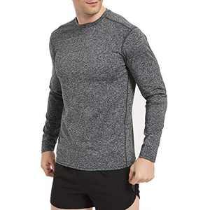 LEDING Men's T-Shirt Casual Cotton Spandex Striped Crewneck Long-Sleeve T-Shirts Basic Pullover Stripe Man tee Shirt (Sports/Black/A, Small)