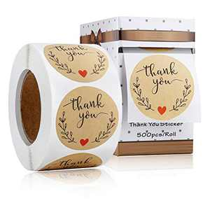 Thank You Stickers, Kraft Paper, 1.5inch, 500 Labels Per Roll