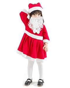 JiaDuo Girls Velvet Santa Dress with Beard Hat Kids Red Christmas Santa Claus Costume 9-10 Years