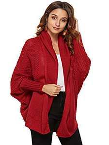 Anna-Kaci Women's Batwing Sleeve Knit Wrap Sweater Oversized Open Front Kimono Cardigan Outwear, Burgundy