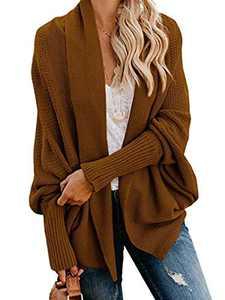 Anna-Kaci Women's Batwing Sleeve Knit Wrap Sweater Oversized Open Front Kimono Cardigan Outwear, Brown