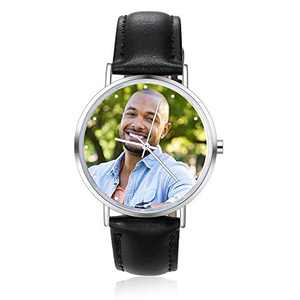 Father's Day Gift Custom Photo Watches for Men Waterproof Watch for Dad Personalized Gifts for Father Husband Boyfriend Son Grandpa Christmas Birthday