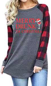 Christmas Plaid Shirt Women Funny Graphic T-Shirt Gnomes Tee Splicing Baseball Tops Holiday Clothes (Dark Grey 7, XL)
