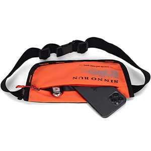 SINNO Small Fanny Pack with 2-Zipper Pockets Fit Running, Dog Walking (Orange)