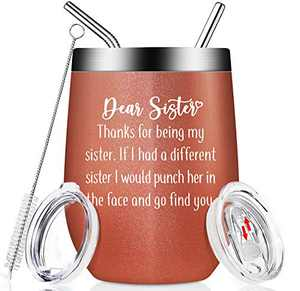 Sister Gifts from Sister - Funny Birthday Gifts Ideas for Sister, Big Sister, Women, Sister in Law, Soul Sister, Unbiological Sister, Best Sister - Insulated Sister Gifts 12oz Wine Tumbler