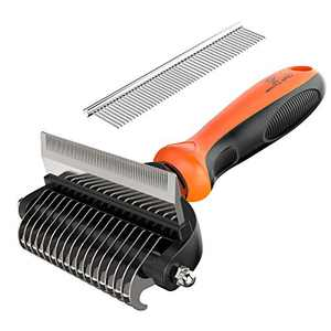 Spring Blossoms-2 in 1 Professional Grooming Rake for Cats & Dogs-Dematting Comb for Easy Mats & Tangles Removing,Pet Brush Safe No More Nasty Shedding and Flying Hair