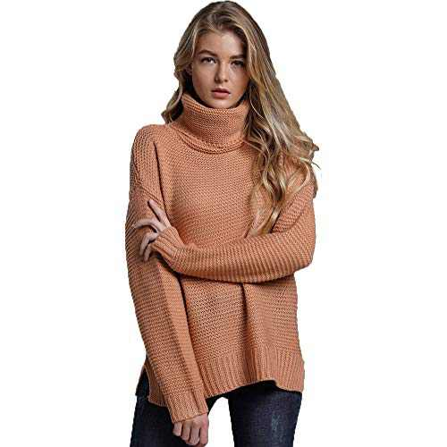 Womens Turtleneck Long Sleeve Chunky Knit Pullover Sweater Tops Khaki