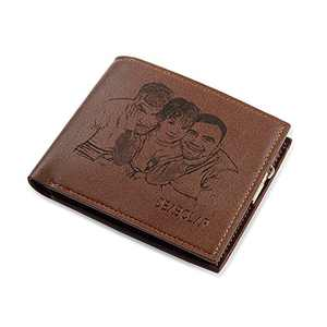 Custom Mens Leather Wallet for Father Men Personalized Photo PU Leather Large Capacity Wallet for Boyfriend Father's Day Christmas