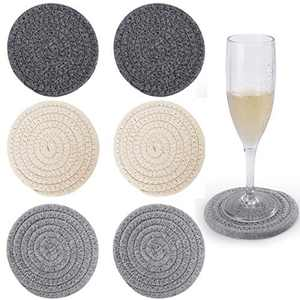 6Pcs Drink Coasters, ABenkle Stylish Handmade Braided Drink Coasters (4.3inch), Super Absorbent Heat-Resistant Round Coasters for Drinks, Great Housewarming Gift (3 Color-B)