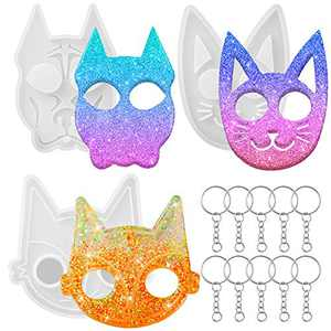 3 Pieces Self Defense Animal Keychain Silicone Molds Cat Dog Shape Resin Mold Keychain Pendant Epoxy Molds with 10 Pieces Key Rings with Chains for DIY Polymer Clay Crafts Making