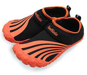 BomKinta Kids Summer Outdoor Water Shoes Barefoot Boys Girls Quick Drying Athletic Shoes for Beach Swim Pool or Water Sport Indoor Comfortable House Walking Sneakers Orange Size 1 M US Big Kid